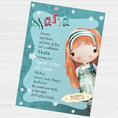 Vasia Party invitation by babyartshop on Etsy Lets Celebrate, Thank You Cards, Party Invitations, Clip Art, Messages, Digital, Prints, Fun, Etsy