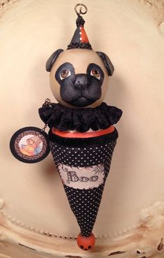 Folk Art One of a Kind Pug Dog Ornament by FolkArtByPenny on Etsy Vintage Halloween Decorations, Halloween Ornaments, Dog Ornaments, Rusty Bed Springs, Vintage Vignettes, Paperclay, Paper Tags, Paper Mache, Wooden Beads