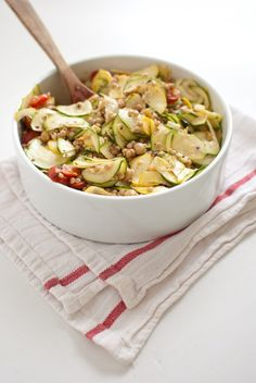 Mediterranean pasta-salad with raw squash. Sounds like a challenge to rawify the whole thing!