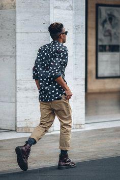 Men's fashion/street style/ chino pant/printed shirt/summer shirt/ summer style