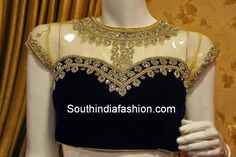Stunning Stone Work High Neck Blouse ~ Celebrity Sarees, Designer Sarees, Bridal Sarees, Latest Blouse Designs 2014