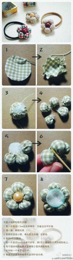 DIY blomst af stof til tøj eller hårpynt!