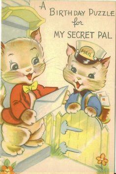 birthday card, cat, vintag birthday, birthday puzzl, happi birthday