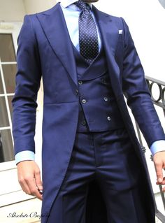 Blue Chaque by Absolute Bespoke. Morning Suits, Morning Dress, Mens Tailored Suits, Mens Suits, Sharp Dressed Man, Well Dressed Men, Suit Combinations, Designer Suits For Men, Suit Shirts