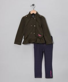 Take a look at this Olive Military Jacket & Jeggings - Infant & Toddler by Calvin Klein Girls on #zulily today!
