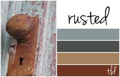 rust and copper patina color palette-- Love the tan for my all over color and the grey as my accent wall with my red loveseat and tan couch