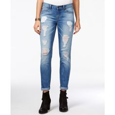 Rewash Juniors' Ripped Cuffed Light Wash Skinny Jeans ($20) ❤ liked on Polyvore featuring jeans, blue, ripped jeans, white denim jeans, blue skinny jeans, skinny jeans and white destroyed skinny jeans