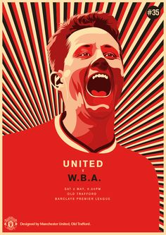 Match poster: Manchester United vs West Bromwich Albion, 2 May Designed by… Manchester United Poster, Manchester United Football, Old Trafford, United Games, Soccer Art, Premier League Champions, Sport Outfit, West Bromwich, Football Design