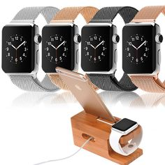 Apple Watch Band, Milanese Loop Stainless Steel Mesh  + Charging Stand