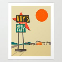 Roy's Cafe, Route 66 Art Print by Jazzberry Blue - $19.00