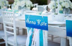 Kids names at wedding table