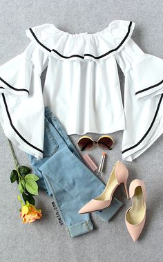 How to wear a classy style with off the shoulder. I recommend you a jean and a nude heel to team. Love it for this chic and pretty style! White Striped Trim Ruffle Off The Shoulder Top from shein.com.