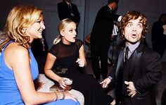 Edie Falco, Amy Poehler and Peter Dinklage share a look of surprise in the Audi Green Room at the Emmy Awards. Comedy Series, Hbo Series, Showtime Series, Nurse Jackie, Louis Ck, Anthology Series, Alec Baldwin, Amy Poehler, Parks And Recreation