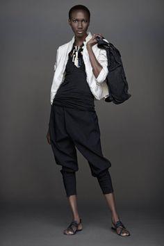 UrbanZen (Donna Karan) | elements III | Shrunken Mens Blazer in Tusk, Cami top in Black, Jodhpur in Black, Leather weave weekend bag in Washed black