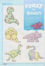 ♥Meus Gráficos De Ponto Cruz♥: Monogramas dos Dinossauros em Ponto Cruz
