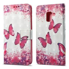3D Painting Filp Case for Samsung Galaxy A8 2018 Red Butterfly Pattern PU Leather Wallet Stand Cover