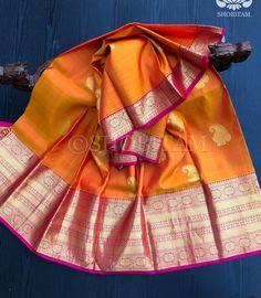 Kanchipuram Silk Saree in sunset orange with Pink border | SILK MARK C – Shobitam Kanjivaram Sarees, Silk Sarees, Orange Saree, Color Combinations, Paisley, Sunset, Pink, Collection, Beautiful
