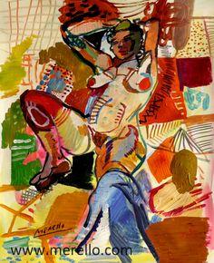Jose Manuel Merello.-Nude and passion. (49 x 39 cm) Mix media on paper.  Art contemporain. Peintres espagnols actuels. Art actuel et peinture du 21e siècle. Tableaux d'artistes contemporains. Art, luxe et Passion. www.merello.com