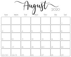 Printable August 2020 Calendar For Business Source - Printable Calendar & Holidays 2020 Printable Calendar 2020, Excel Calendar, Calendar Layout, Cute Calendar, Holiday Calendar, Calendar Design, Printable Planner, Free Printables, August Calendar