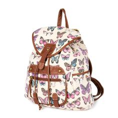 Butterfly Print Canvas Backpack with Brown Faux Leather Trim | Claire's