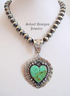 Schaef Designs Kingman Turquoise Large Heart Pendant ~ New Mexico