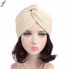Spring autumn women s head wrap warm caps 2018 fashion women turban hat  retro winter knitting hat 5de38de37b4b