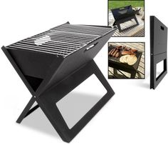 Grilling to Go: Flat-Folding, Ultra-Portable Outdoor BBQ Grill Camping Bbq, Camping Ideas, Folding Bbq, Bbq King, Charcoal Bbq Grill, Kombi Home, Home Decor Furniture, Grilling, Cool Ideas