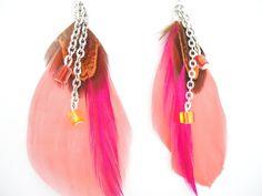 Boucles d'oreilles plume rose/orange