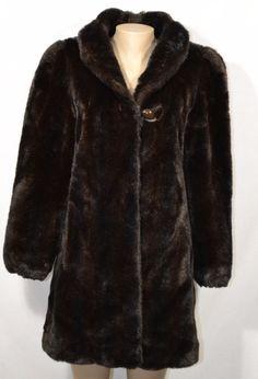 JORDACHE Dark Brown Faux Fur Coat Jacket 11/12 Satin Lining Pockets Made in USA #Jordache #FauxFurJacket