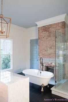 Bathroom with Clawfoot Tub Luxury Master Bathroom White Marble Clawfoot Tub Antique Brass Bath Clawfoot Tub Bathroom, Brick Bathroom, Bathroom Faucets, Modern Master Bathroom, White Bathrooms, Luxury Bathrooms, Master Bathrooms, Minimalist Bathroom, Dream Bathrooms