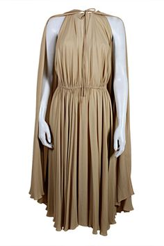 Halston '70s Crepe Grecian Dress with Cape in Nude, $4,500, available at The Way We Wore