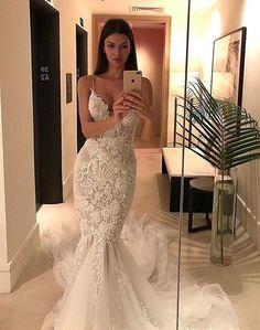 Spaghetti Straps Mermaid Wedding Dresses,Appliqued V-neck Tulle Wedding Dress,Bridal - Braut Applique Wedding Dress, Lace Mermaid Wedding Dress, Applique Dress, Tulle Wedding, Bridal Wedding Dresses, Mermaid Dresses, Dream Wedding Dresses, Bridesmaid Dresses, Prom Dresses