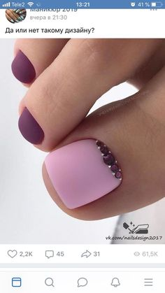 Toe nails Trendy Pediküre Ideen Sommer lila hübsche Zehen Ideen How To Waterproof A Canvas There Pretty Toe Nails, Cute Toe Nails, Pretty Toes, My Nails, Fall Toe Nails, Pretty Pedicures, Toe Nail Color, Toe Nail Art, Nail Colors