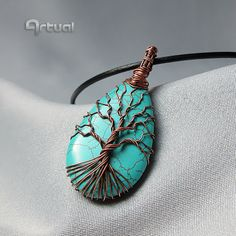 Wire wraped turquoise tree of life jewelry pendant by Artual
