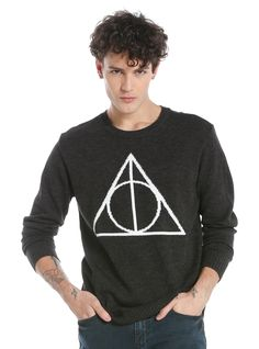 """<div>Want to become the Master of Death? Show everyone when you wear this Deathly Hallows sweater from <i>Harry Potter</i>. The white knit Deathly Hallows design, comprised of the Elder Wand, Resurrection Stone and Cloak of Invisibility, is featured on the front of this heather grey acrylic blend crew neck sweater.</div><div><ul><li style=""""LIST-STYLE-POSITION: outside !important; LIST-STYLE-TYPE: disc !important"""">90% acrylic; ..."""