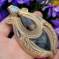 Mother Of GOD handmade wire wrap pendant pietersite gold nuggets opal jermjavite…