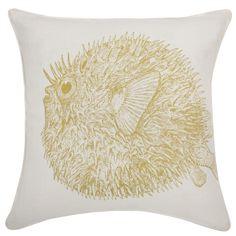Thomas Paul Sea Life Puffer fish Pillow in Corn