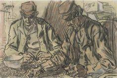 Artwork by Jan Toorop, Boonenverlezen, 1904 Made of black chalk and pastel on paper