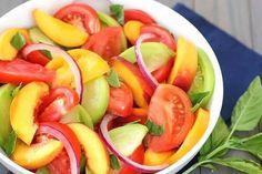 Heirloom Tomato Peach & Basil Salad Recipe » The Homestead Survival