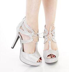 Silver High Heel Platform Sandals Lace Up Bridal Prom Formal Wedding Shoes #Qupid #PlatformsWedges #BridalorWedding
