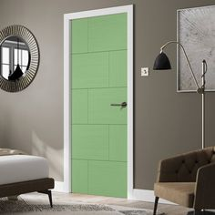 Pre-finished Ravenna Oak Flush Fire Door - Choose Your Colour - Lifestyle Image.    #greendoor #painteddoor