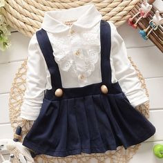 """Image how cute and classy your little girl will look in this Lace Jumper Dress! <3 Available in blue and red. Click """"Add to bag"""" to shop!"""