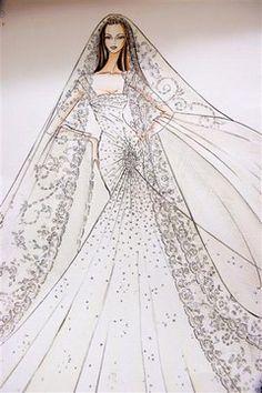 Croquis de mode d'une robe de mariée Elie Saab  - Elie Saab: dans l'atelier couture du créateur Elie Saab