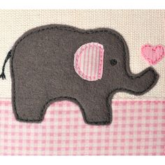 elephant card for new baby boy or girl by jenny arnott cards . Baby Boy Or Girl, New Baby Boys, Sewing For Kids, Sewing Ideas, Elephant Applique, Mixed Media Cards, Quilt Labels, New Baby Cards, Creative Cards