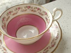 Antique pink tea cup set, vintage Aynsley English tea cup set, pink roses bone china tea set via Etsy