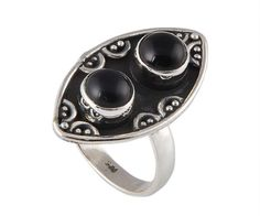 925 Sterling Silver Black Onyx Ring BC-5350 from Edelsteinschmuck by DaWanda.com