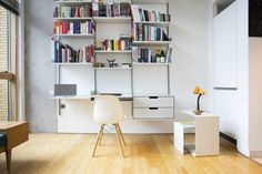 the beauty of floating desks and shelves.