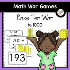 """Base-Ten War to 1000 is a twist on the traditional card game """"War."""" Instead of comparing numbers, players count the base-ten/place value blocks on their cards and the player with the largest number wins the hand! The game can be played with pairs or small groups of students. This math game includes directions and game cards for 32 numbers, each represented four ways (base-ten blocks, numerals, words, and expanded form)."""