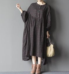 Black oversized loose long dress blue large size dresses