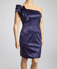Take a look at this Navy Flower Panel Asymmetrical Sheath Dress - Women & Plus by Jessica Simpson Collection on #zulily today!
